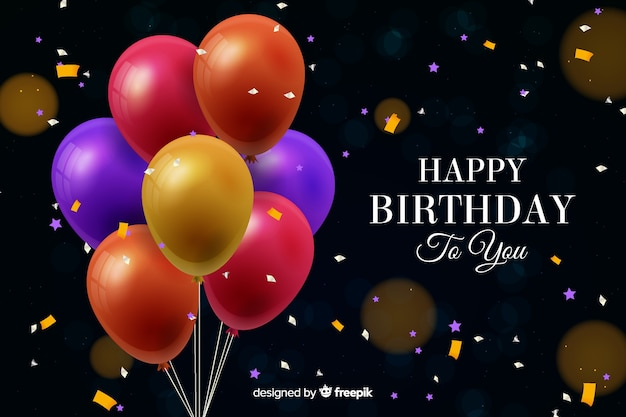 Verjaardag achtergrond met realistische ballonnen