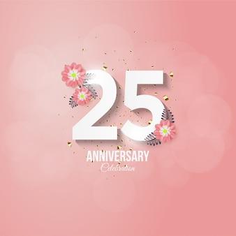 Verjaardag achtergrond met roze bloemen.