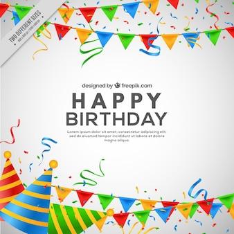 Verjaardag achtergrond met slingers en feestmutsen in realistische stijl