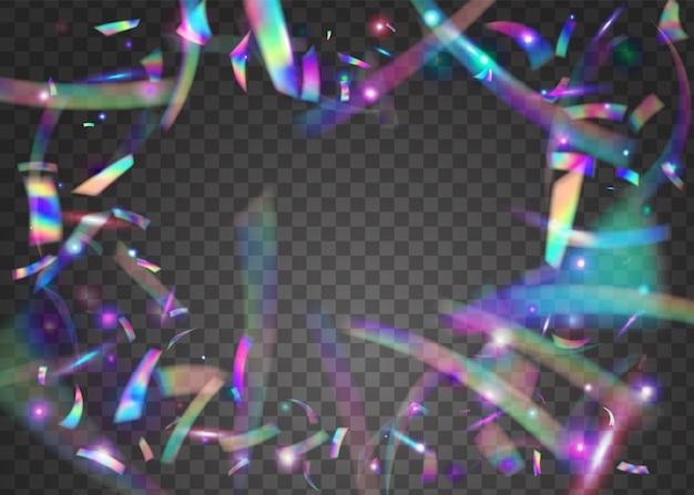 Verjaardag achtergrond. roze glanzend effect. laser veelkleurige achtergrond. regenboog confetti. metalen ontwerp. webpunk folie. iriserende schittering. glitterkunst. paarse verjaardag achtergrond