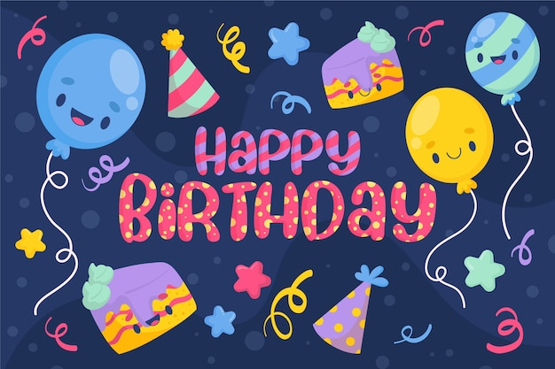 Verjaardag achtergrondontwerp met ballonnen