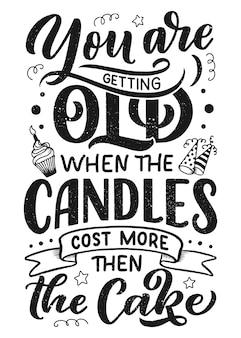 Verjaardag belettering in retro stijl. verjaardag uitnodigingskaart.
