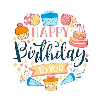 Verjaardag belettering met cake