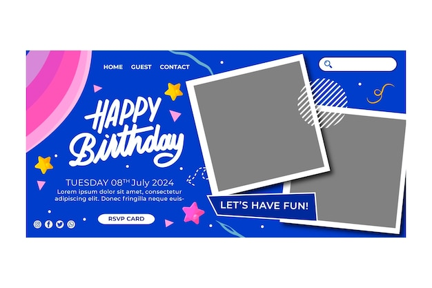 Verjaardag bestemmingspagina sjabloon