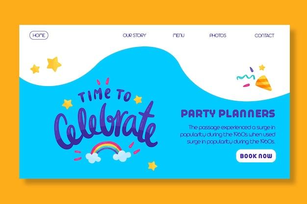 Verjaardag bestemmingspagina voor kinderen