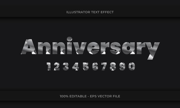 Verjaardag bewerkbaar teksteffect zilveren kleur op donkere achtergrond met nummering