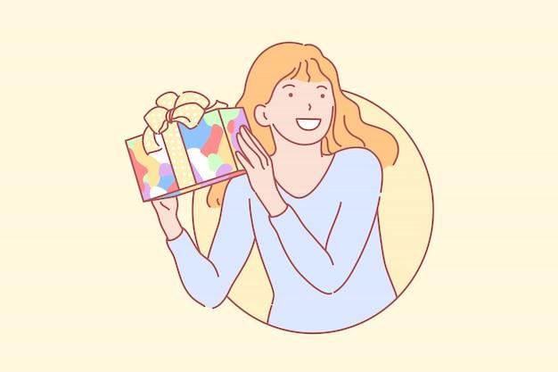 Verjaardag, cadeau, geluk, verrassing illustratie.
