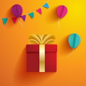 Verjaardag cadeau papier gesneden illustratie