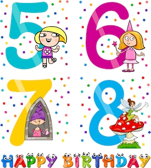 Verjaardag cartoon ontwerp voor meisje