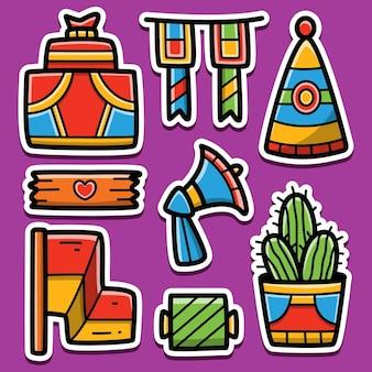 Verjaardag cartoon sticker ontwerp