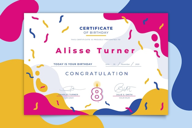 Verjaardag certificaat kleurrijke sjabloon