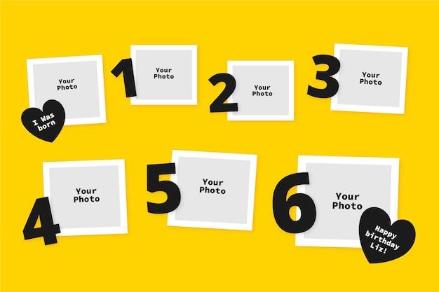 Verjaardag collage frame collectie in plat design Gratis Vector