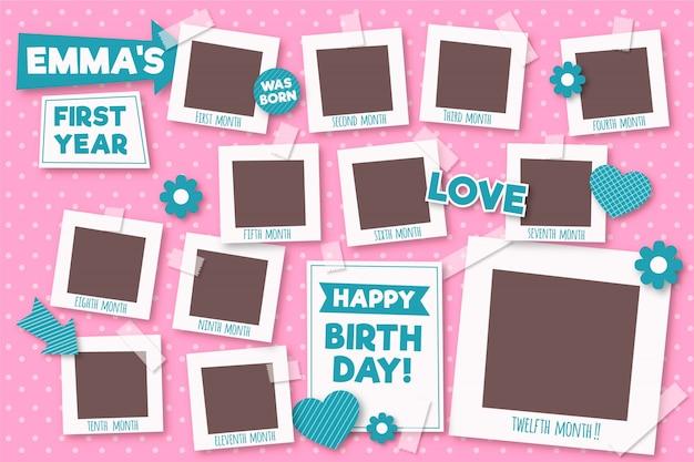 Verjaardag collage frame collectie in plat ontwerp