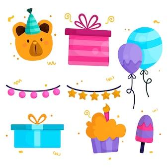 Verjaardag decoratie elementen pack