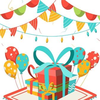 Verjaardag decoratie met cadeautjes en ballonnen