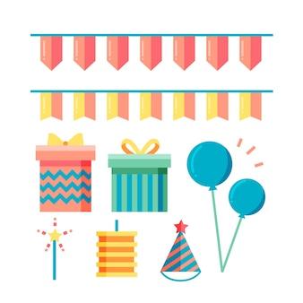 Verjaardag decoratie met cadeautjes en slingers
