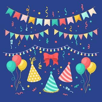 Verjaardag decoratie met hoeden en ballonnen