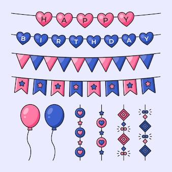 Verjaardag decoratie met slingers en ballonnen
