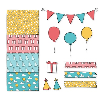 Verjaardag decoratieve plakboek elementen collectie