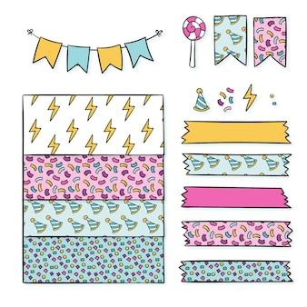Verjaardag decoratieve plakboekelementen instellen
