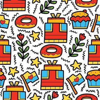 Verjaardag doodle cartoon patroon ontwerp