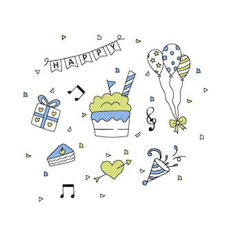Verjaardag doodle elementen geïsoleerd op een witte achtergrond vector illustratie