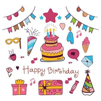 Verjaardag doodle pictogram in kleurrijk