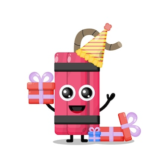 Verjaardag dynamiet schattig karakter mascotte