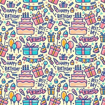 Verjaardag element ingesteld doodle kleurrijke naadloze patroon
