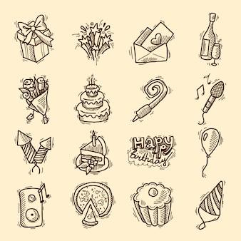 Verjaardag feest schets decoratieve elementen instellen met cake cadeaus champagne glas geïsoleerde vector illustratie