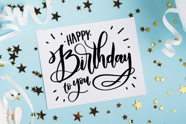 Verjaardag feestconcept voor belettering