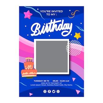 Verjaardag flyer verticale sjabloon