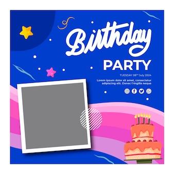 Verjaardag flyer vierkante sjabloon