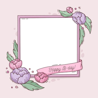 Verjaardag frame met bloemen