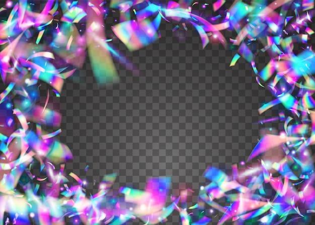 Verjaardag glitter. kristallen glans. paarse partij confetti. moderne folie. webpunk kunst. disco flyer. neon schittert. vervagen festival serpentine. blauwe verjaardagsglitter