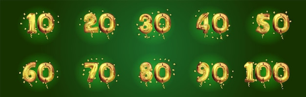 Verjaardag gouden nummers instellen. feestelijke composities en begroeting. 10, 20, 30, 40, 50, 60, 70, 80, 90, jaar verjaardag. gouden 3d ballon met nummer