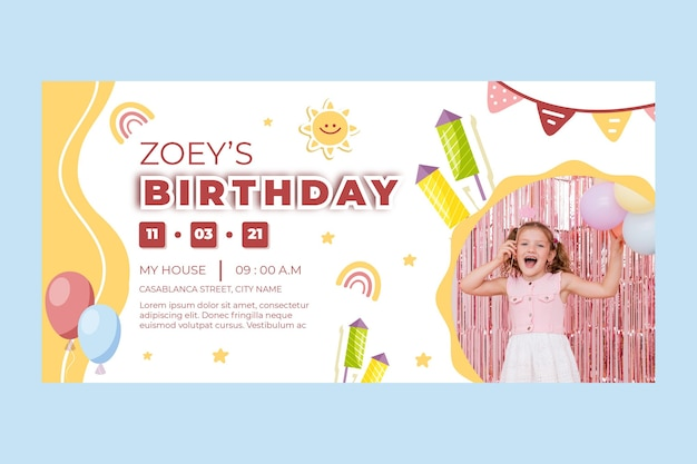 Verjaardag horizontale banner voor kinderen
