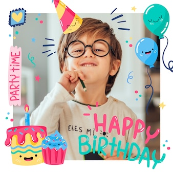 Verjaardag instagram post met gelukkig kind en ballonnen