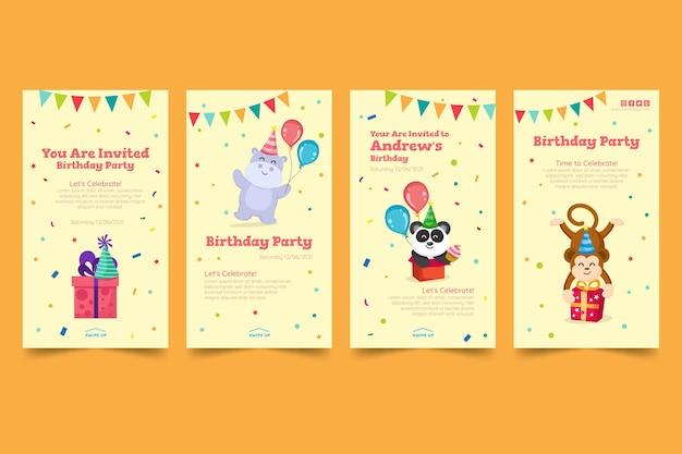 Verjaardag instagram verhaalsjabloon voor kinderen
