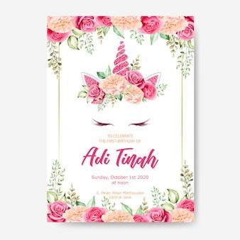 Verjaardag kaart sjabloon, schattige eenhoorn afbeelding met bloem krans