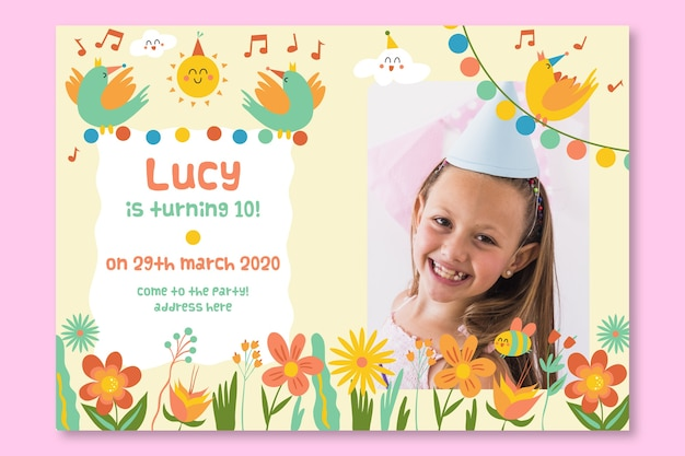 Verjaardag kaart uitnodiging voor kinderen sjabloon concept