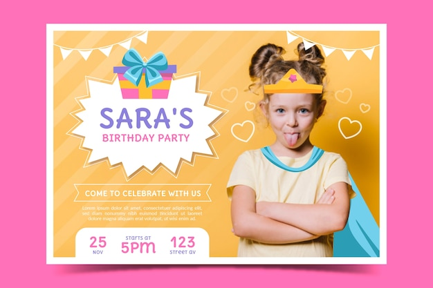 Verjaardag kaartsjabloon kinderen met foto