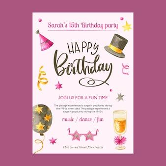 Verjaardag kaartsjabloon met getekende elementen
