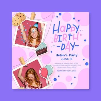 Verjaardag kwadraat flyer-sjabloon met foto