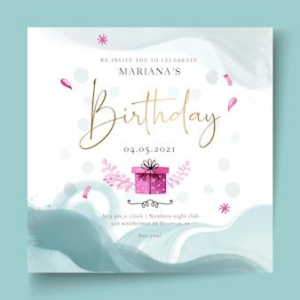 Verjaardag kwadraat flyer-sjabloon met heden