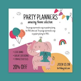 Verjaardag kwadraat flyer-sjabloon met olifant