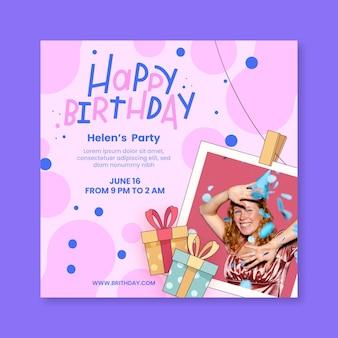 Verjaardag kwadraat flyer-sjabloon