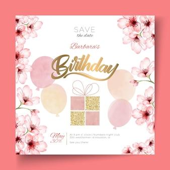 Verjaardag kwadraat flyer sjabloon