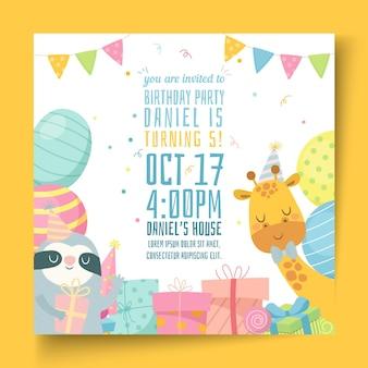 Verjaardag kwadraat flyer voor kinderen