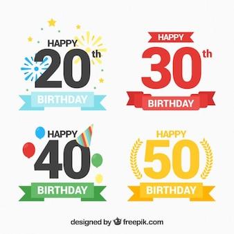 Verjaardag labels met getallen in kleuren